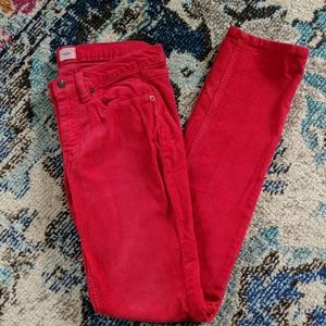 Land's End Pin Straight Red Cordouroy Pants